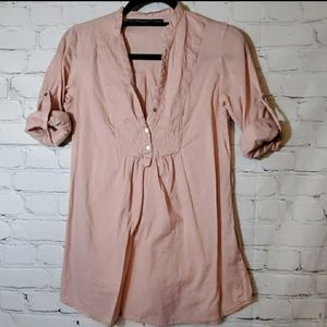 Zara Smocked Dusty Pink Tope with Roll Tab Sleeves